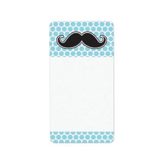 Étiquette Moustache noire de guidon sur le motif de point