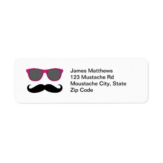 Étiquette Moustache noire drôle et adresse de retour de lune