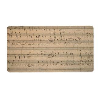 Étiquette Musique de feuille antique, chanson du vieil