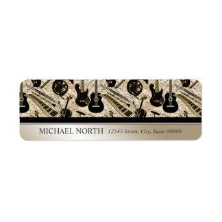 Étiquette Musique de feuille et noir d'instruments/or