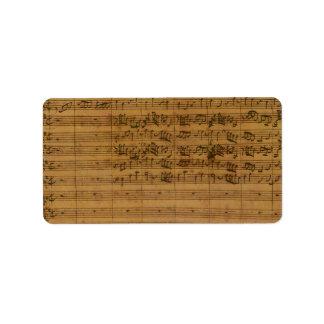 Étiquette Musique de feuille vintage par Johann Sebastian