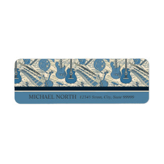 Étiquette Musique et instruments de feuille bleus/ivoire