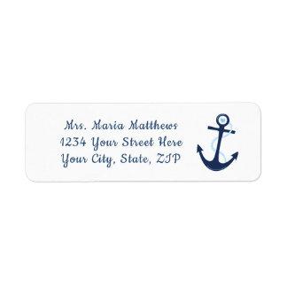 Étiquette nautique d'autocollant d'adresse de bleu