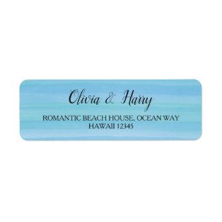 Étiquette nautique de mariage de plage de bleu