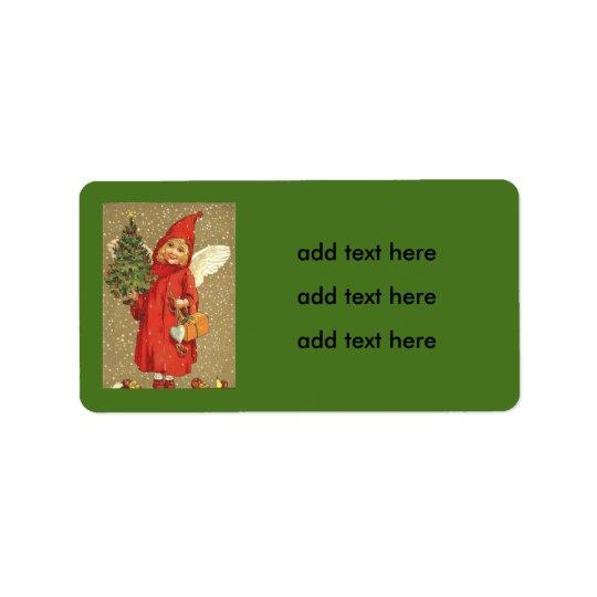 Étiquette Neige d'arbre de Noël d'ange d'ange