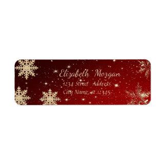 Étiquette Noël à la mode, flocons de neige, rouges