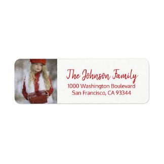 Étiquette Noël blanc rouge ajoutent l'adresse de retour de