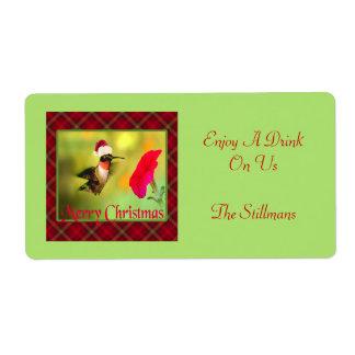Étiquette Noël de colibri de casquette de Père Noël