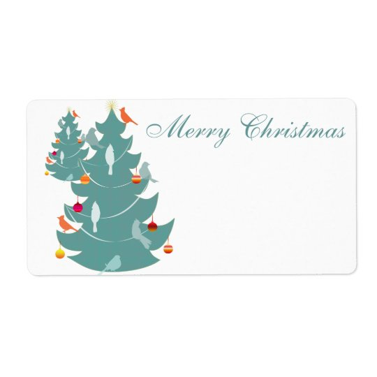 Étiquette Noël de région boisée