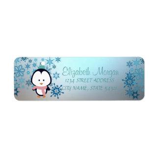 Étiquette Noël élégant, flocons de neige, pingouin