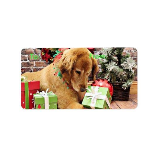 Étiquette Noël - golden retriever - Addison