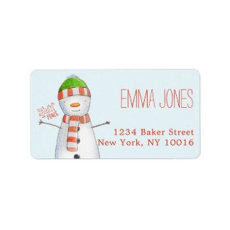 Étiquette Noël mignon de bonhomme de neige de joie et de