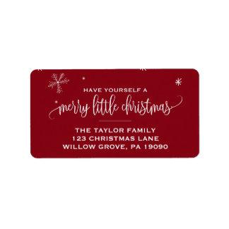 Étiquette Noël rouge de flocon de neige