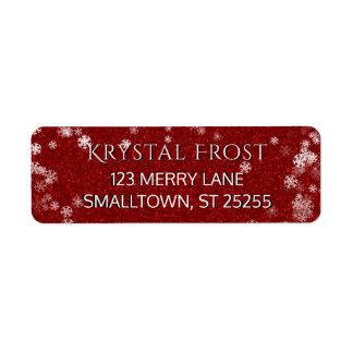 Étiquette Noël rouge et blanc de flocons de neige