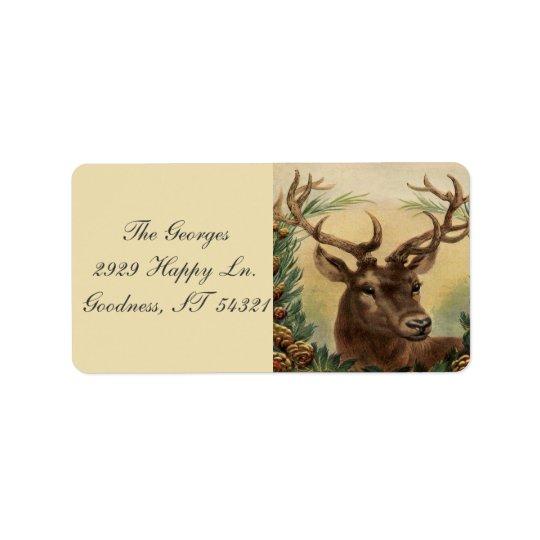 Étiquette Noël rustique de cerfs communs de mâle de nature