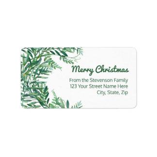 Étiquette Noël tropical de feuille d'aquarelle verte
