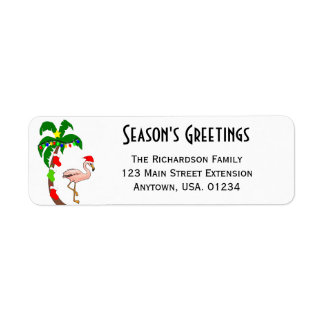 Étiquette Noël tropical de palmier et de flamant
