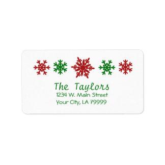 Étiquette Noël vert rouge de vacances de flocon de neige