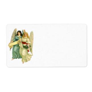 Étiquette Noël vintage, anges victoriens angéliques