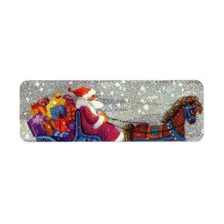 Étiquette Noël vintage, cheval Sleigh ouvert du père noël