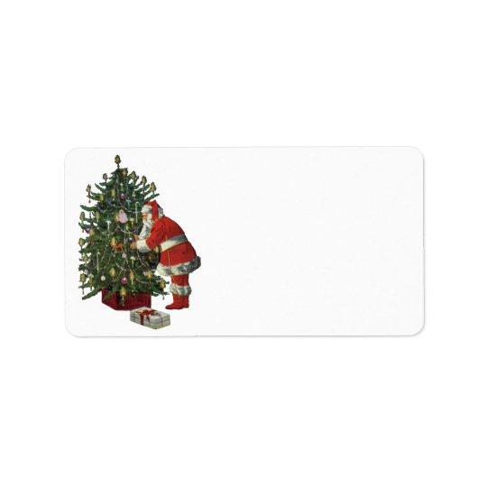 Étiquette Noël vintage, le père noël avec des présents