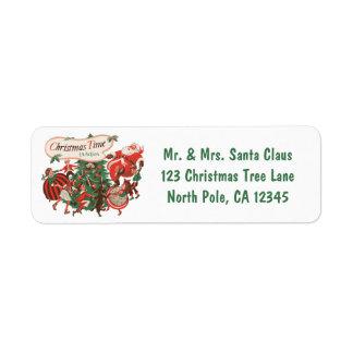 Étiquette Noël vintage le père noël et enfants de danse