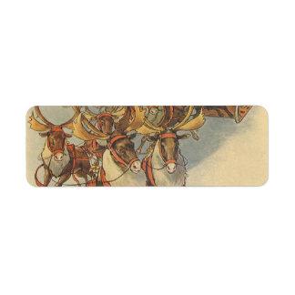 Étiquette Noël vintage le père noël Sleigh avec le renne