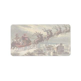 Étiquette Noël vintage, le père noël victorien dans Sleigh