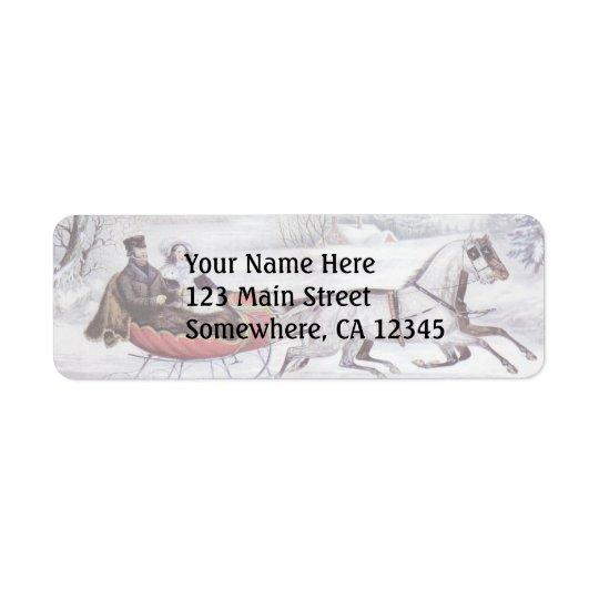 Étiquette Noël vintage, l'hiver de route, cheval de Sleigh