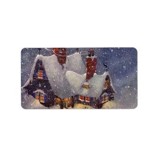 Étiquette Noël vintage, Pôle Nord d'atelier du père noël