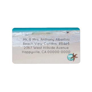 Étiquette Noël vivant près de la plage de taille moyenne