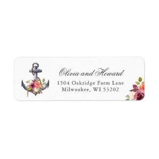 Étiquette Noeud floral d'aquarelle nautique d'ancre