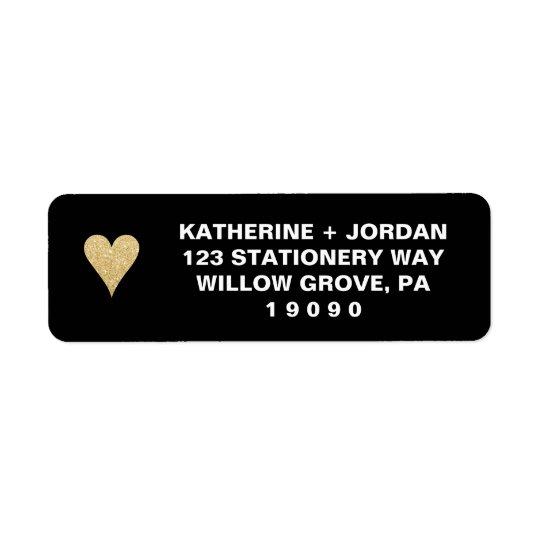 Étiquette Noir avec le mariage de coeur d'or