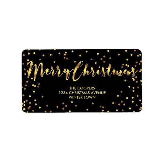 Étiquette Noir chic de confettis de feuille d'or de Joyeux