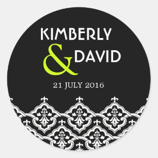 Étiquette noir et blanc de mariage damassé sticker rond