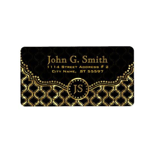 Étiquette Noir et motif métallique de Quatrefoil d'or