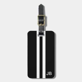 Étiquette noire de bagage de monogramme avec les étiquette pour bagages