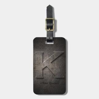 Étiquette noire en bronze de bagage de voyage de étiquette à bagage