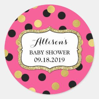 Étiquette noire fuchsia de faveur de baby shower