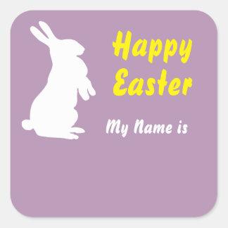 Sticker Carré Étiquette nommée carrée heureuse de Pâques