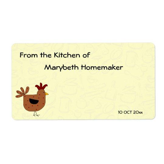 Étiquette Nourriture faite maison de conception de poulet de