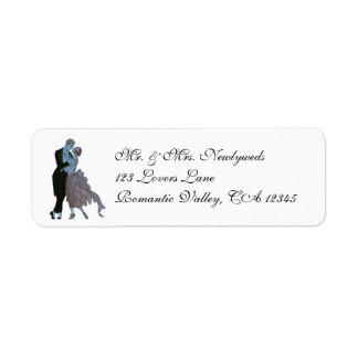 Étiquette Nouveaux mariés vintages d'art déco, danse de