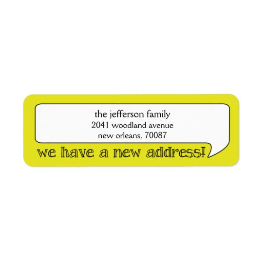 Étiquette Nouvelle adresse de bulle lumineuse/faire-part
