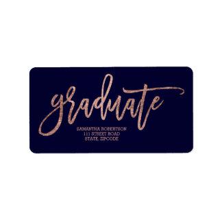 Étiquette Obtention du diplôme rose de bleu marine de