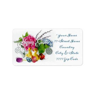 Étiquette Oeufs de pâques d'aquarelle, canetons et fleurs de