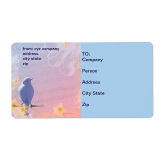 Étiquette Oiseau bleu couleur pêche : Oiseaux et fleurs de