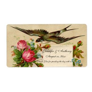Étiquette Oiseau bleu et roses d'étiquette de vin de mariage