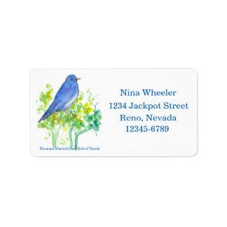 Étiquette Oiseau d'état d'oiseau bleu de montagne d'adresse