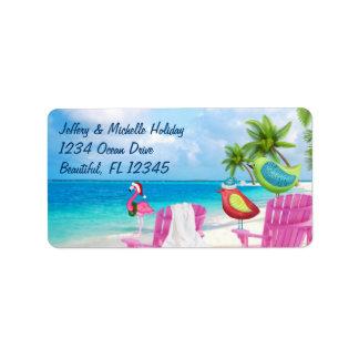 Étiquette Oiseaux tropicaux, adresse de plage de Noël de