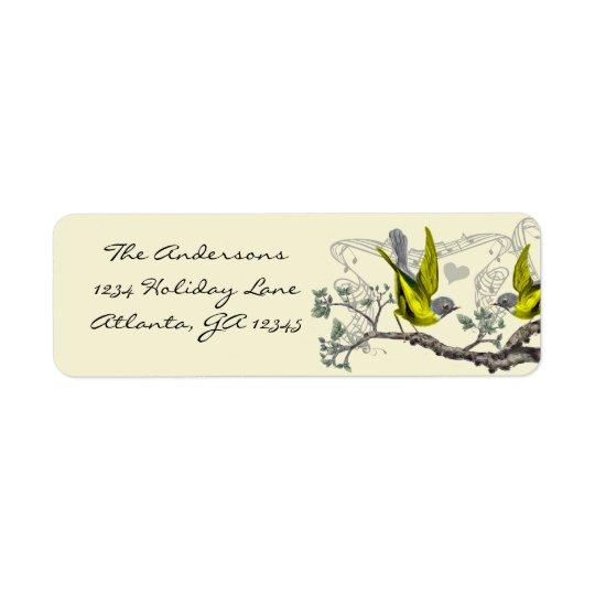 Étiquette Oiseaux vintages jaunes et feutre gris